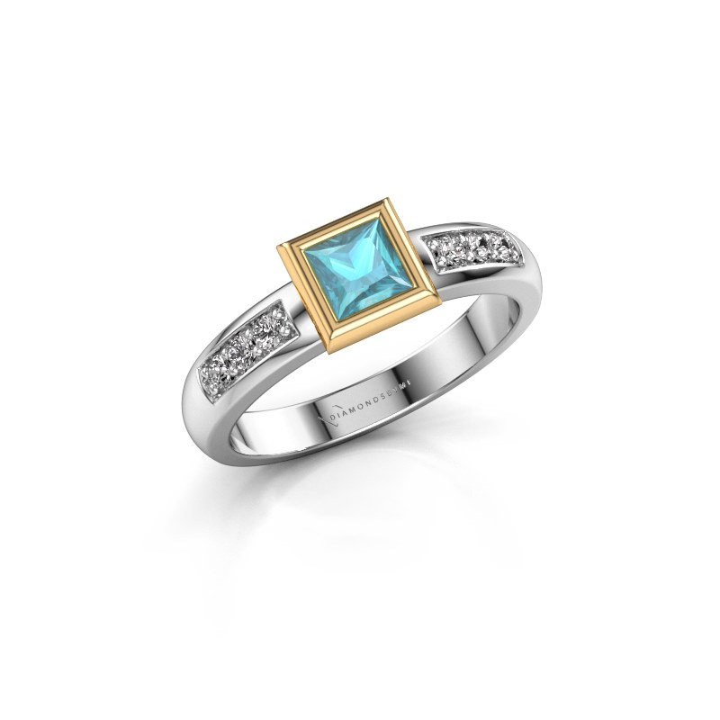 Stacking ring Lieke Square 585 white gold blue topaz 4 mm
