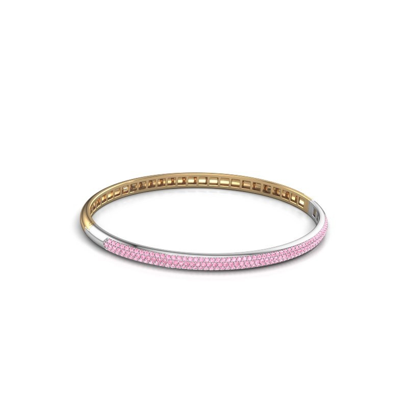 Slavenarmband Emely 4mm 585 goud roze saffier 1.1 mm