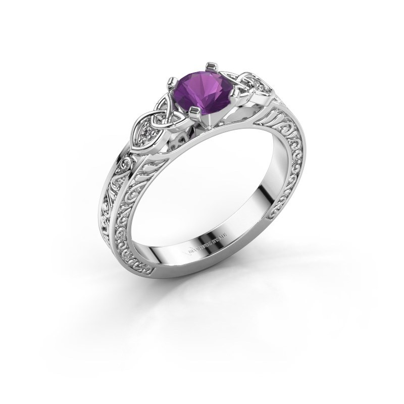 Engagement ring Gillian 925 silver amethyst 5 mm
