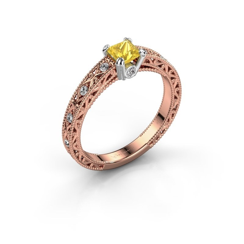 Engagement ring Ardella 585 rose gold yellow sapphire 4 mm