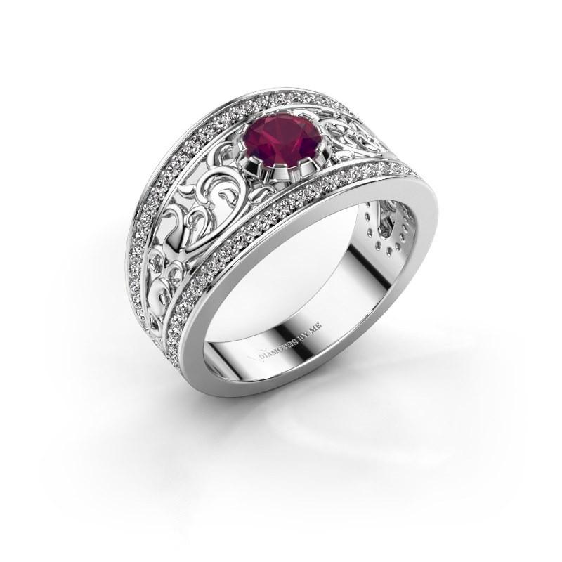 Ring Marilee 585 witgoud rhodoliet 5 mm