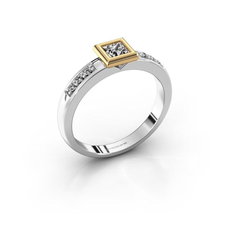 Steckring Lieke Square 585 Weißgold Diamant 0.340 crt