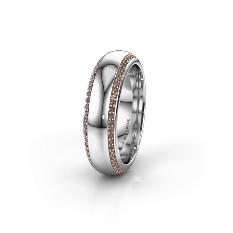 Trouwring WH6132L36C 950 platina bruine diamant ±6x2.2 mm