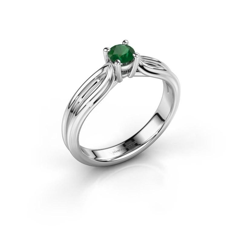 Verlovingsring Antonia 1 585 witgoud smaragd 4 mm