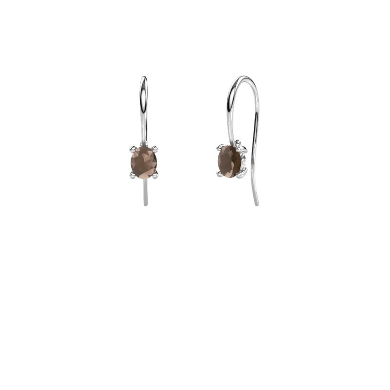 Drop earrings Cleo 375 white gold smokey quartz 6x4 mm