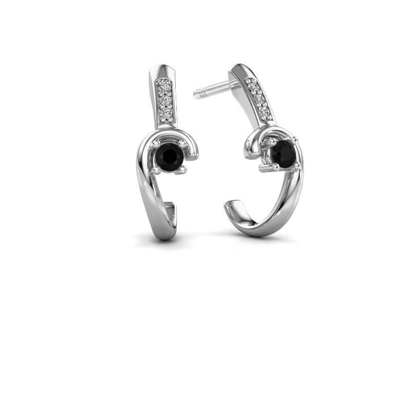 Oorbellen Ceylin 925 zilver zwarte diamant 0.184 crt