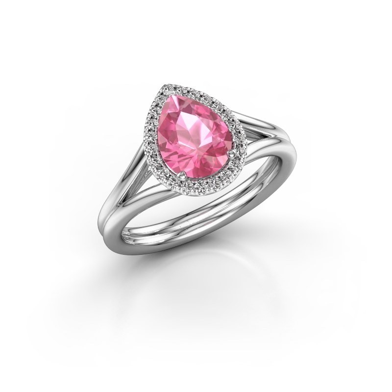 Verlovingsring Elenore 925 zilver roze saffier 8x6 mm