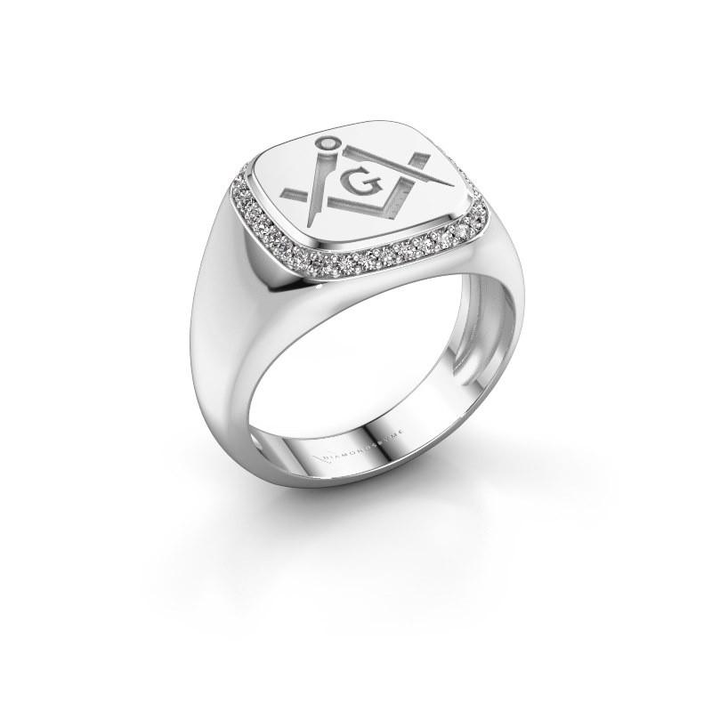 Heren ring Johan 375 witgoud zirkonia 1.2 mm