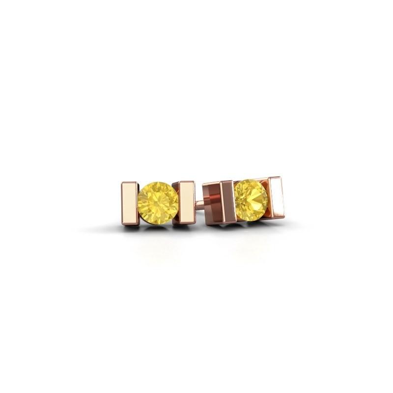 Oorstekers Lieve 375 rosé goud gele saffier 3.7 mm