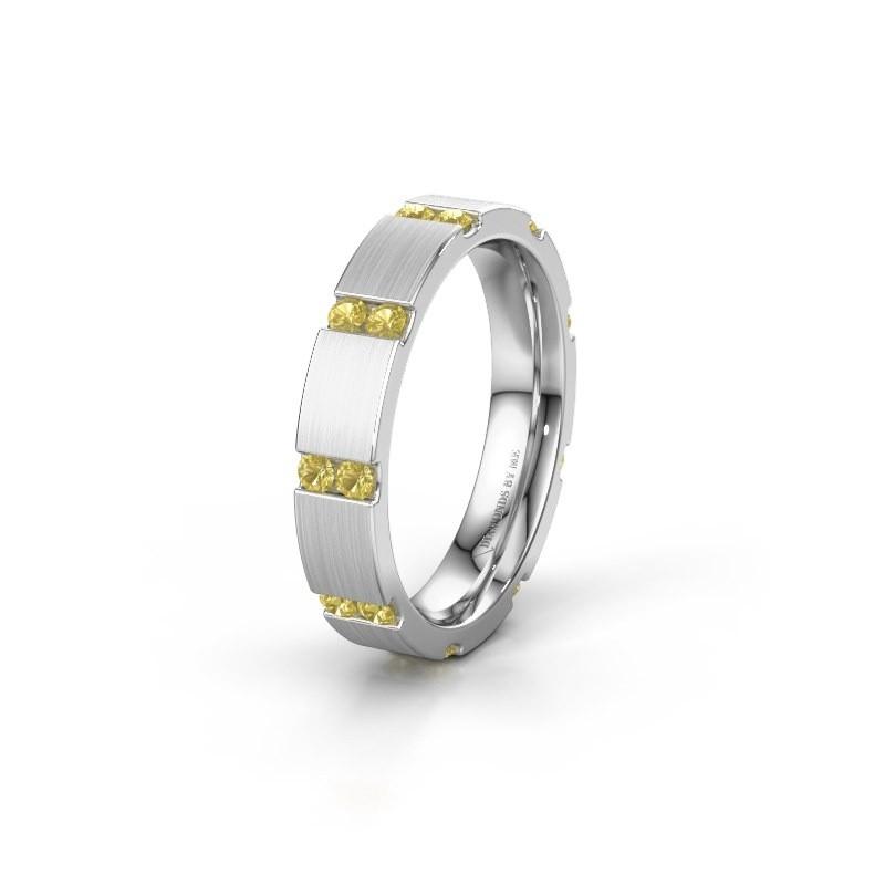 Huwelijksring WH2132L14BM 585 witgoud gele saffier ±4x2.2 mm