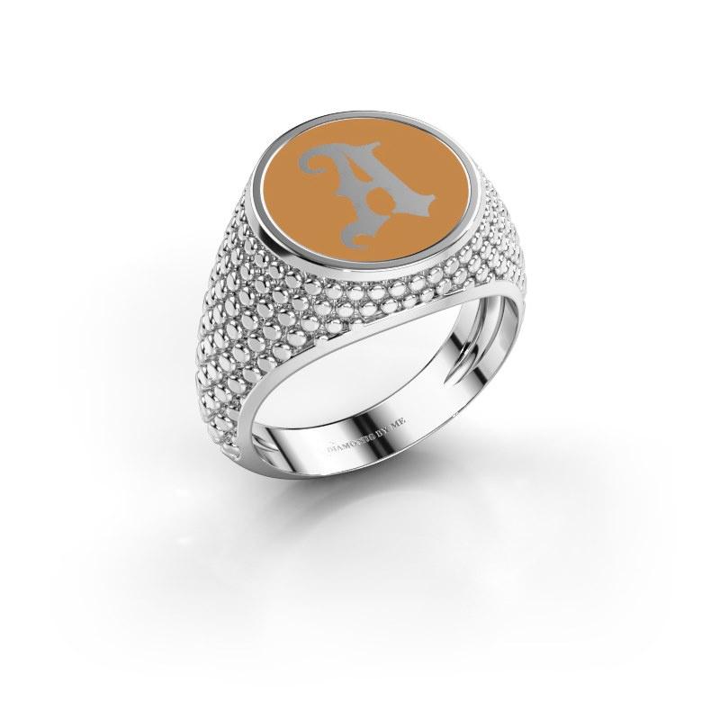 Monogramm Ring Zachary 925 Silber Gelber Emaille