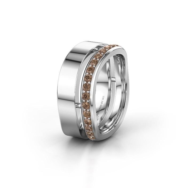 Huwelijksring WH6008L18BP 950 platina bruine diamant ±10x2 mm