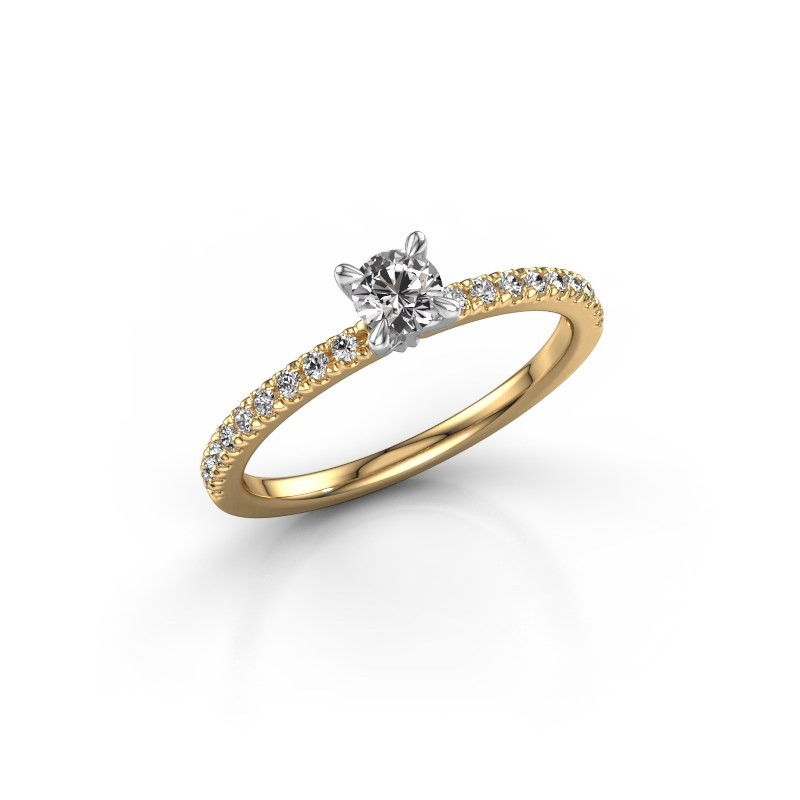 Verlovingsring Crystal rnd 2 585 goud diamant 0.48 crt