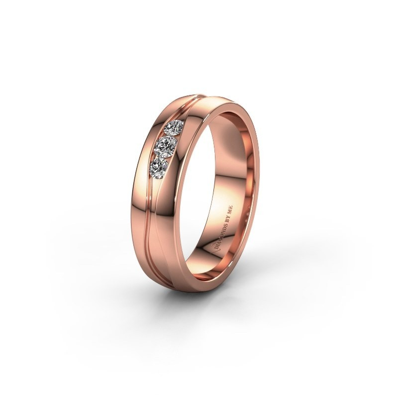Wedding ring WH0172L25A 375 rose gold lab grown diamond ±0.20x0.07 in