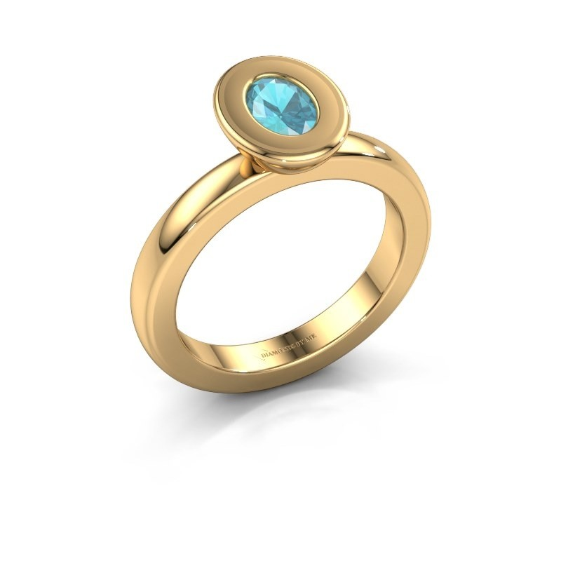 Stapelring Eloise Oval 585 goud blauw topaas 6x4 mm