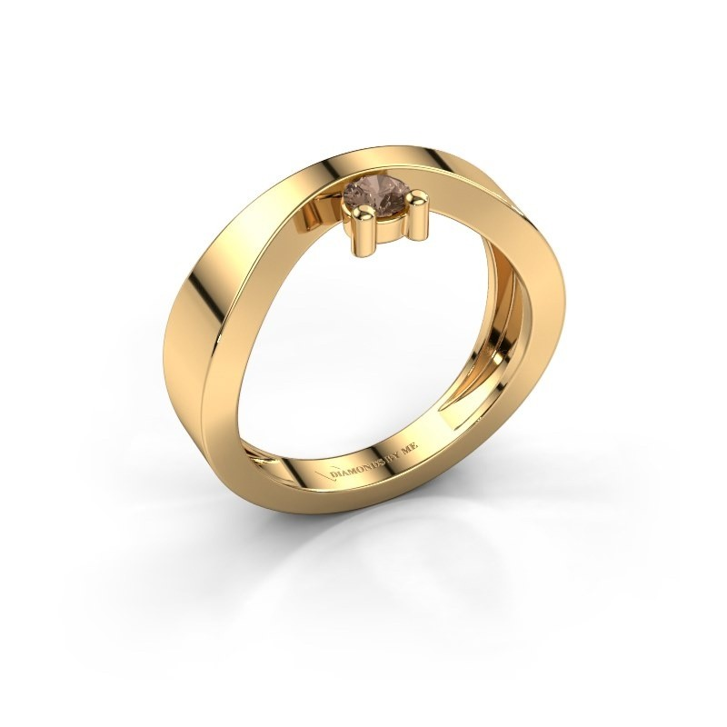 Verlovingsring Elisabeth 585 goud bruine diamant 0.15 crt