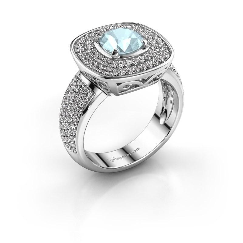 Ring Eliana 925 zilver aquamarijn 6 mm