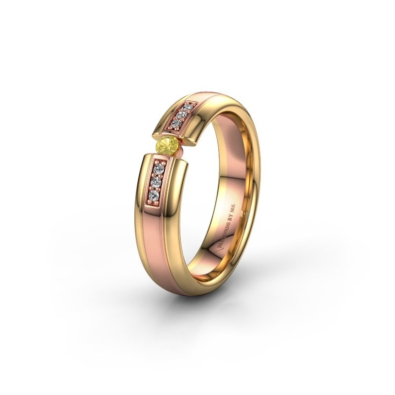 Wedding ring WH2128L26C 585 rose gold yellow sapphire ±5x2 mm