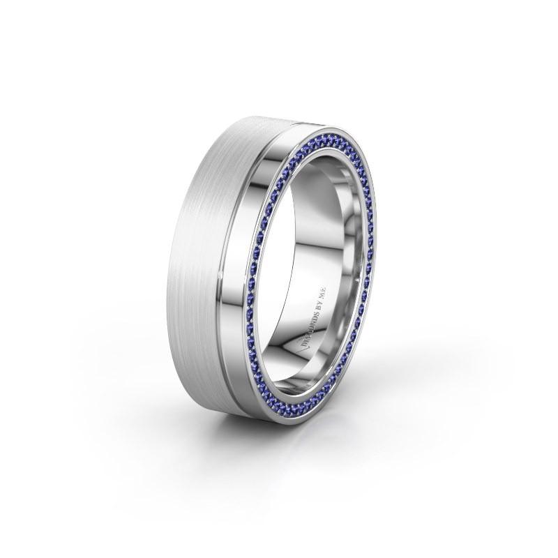 Trouwring WH0313L16B 925 zilver saffier ±6x2 mm
