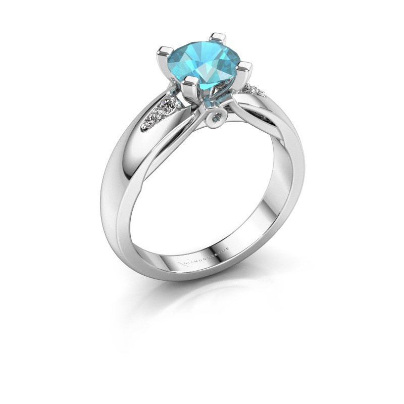 Engagement ring Ize 925 silver blue topaz 6.5 mm