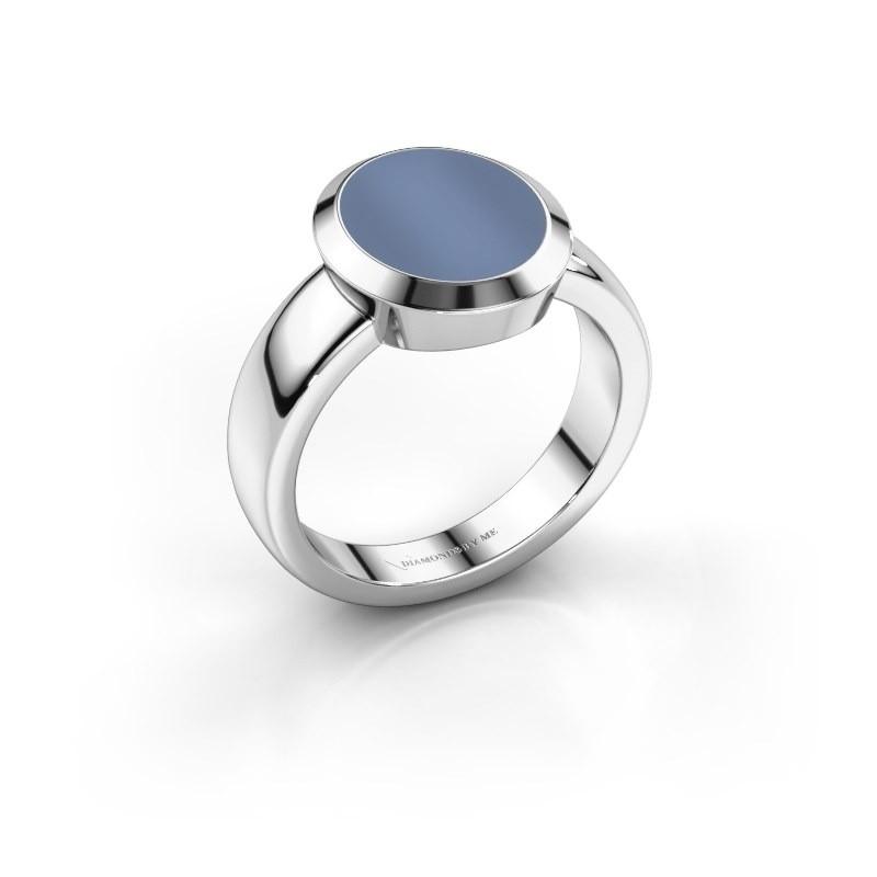 Zegelring Oscar 3 950 platina licht blauwe lagensteen 12x10 mm