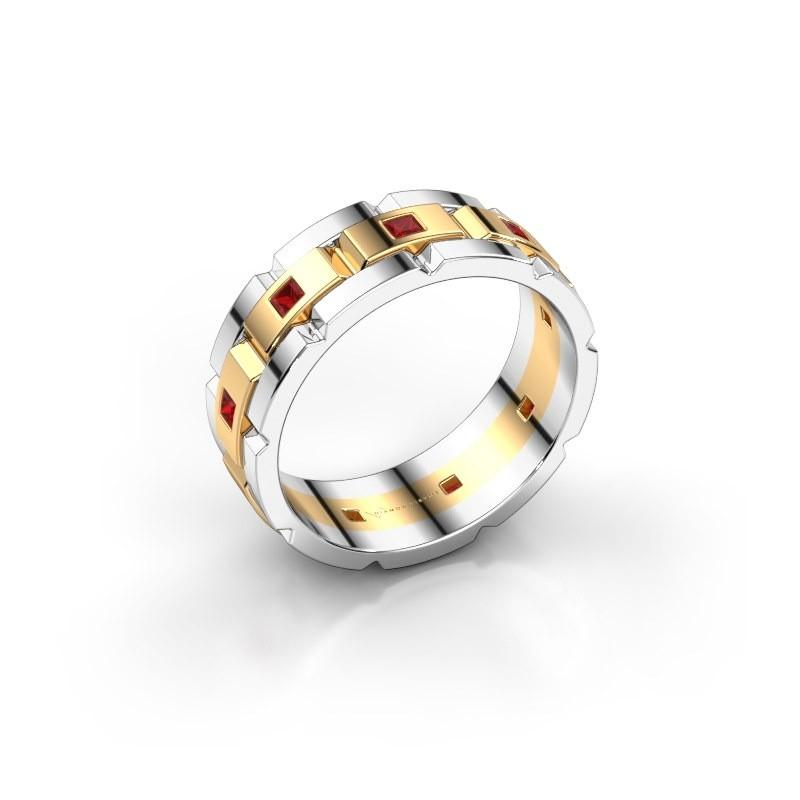 Heren ring Ricardo 585 goud robijn 2 mm
