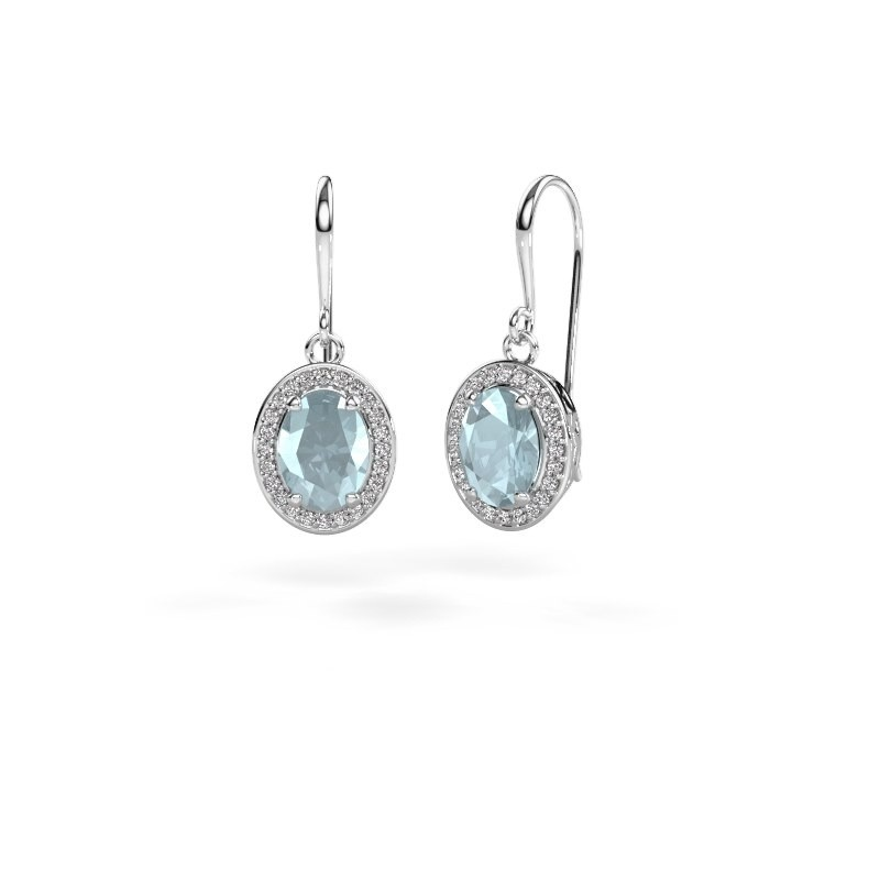 Drop earrings Latesha 375 white gold aquamarine 8x6 mm