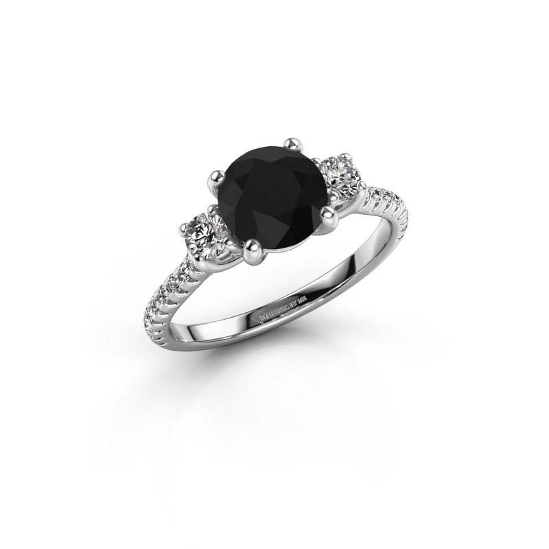 Verlovingsring Jesica 585 witgoud zwarte diamant 1.94 crt