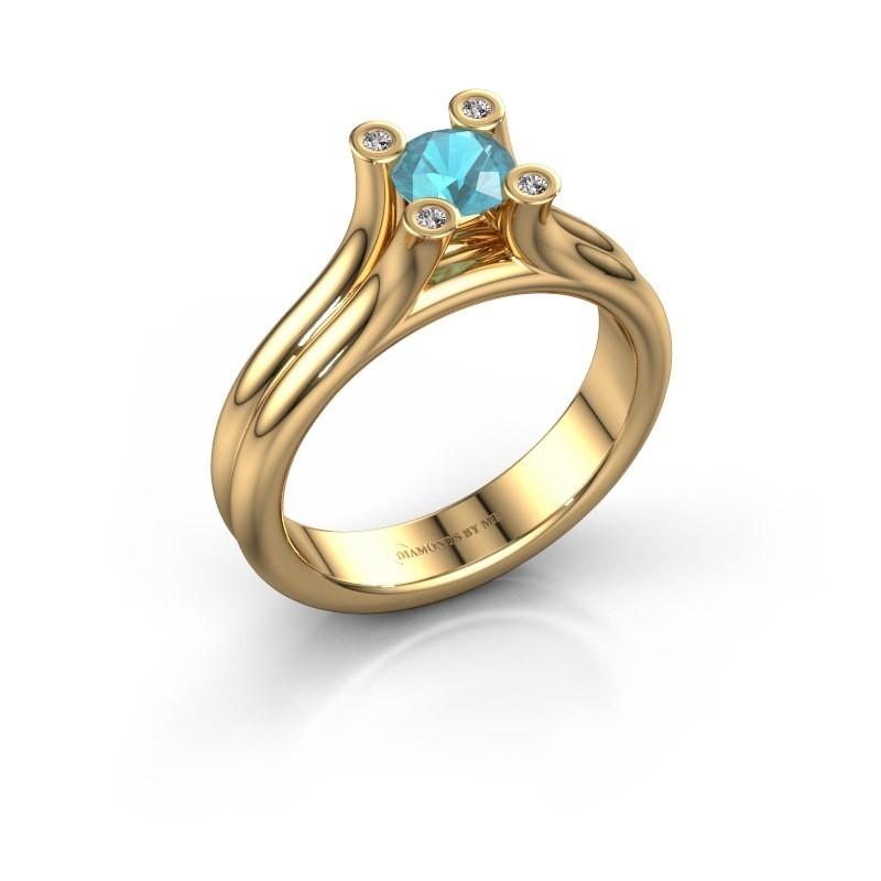 Belofte ring Stefanie 1 585 goud blauw topaas 5 mm