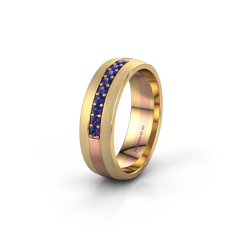 Trouwring WH0413L26APM 585 rosé goud saffier ±6x1.7 mm