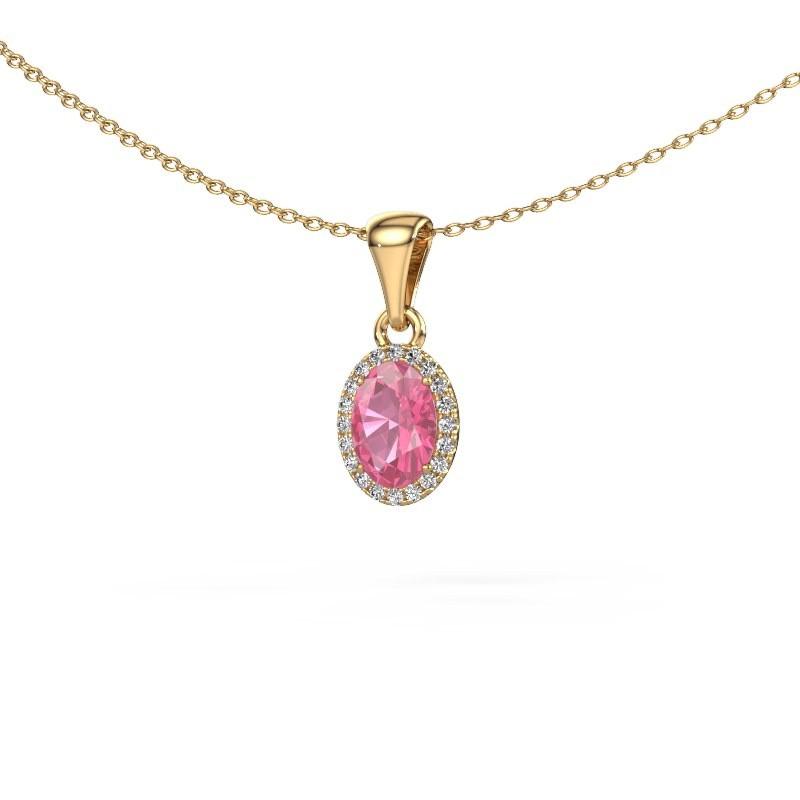 Hanger Seline ovl 585 goud roze saffier 7x5 mm