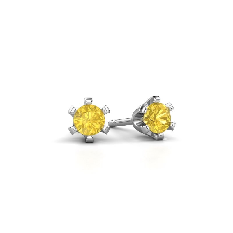 Stud earrings Shana 585 white gold yellow sapphire 4 mm