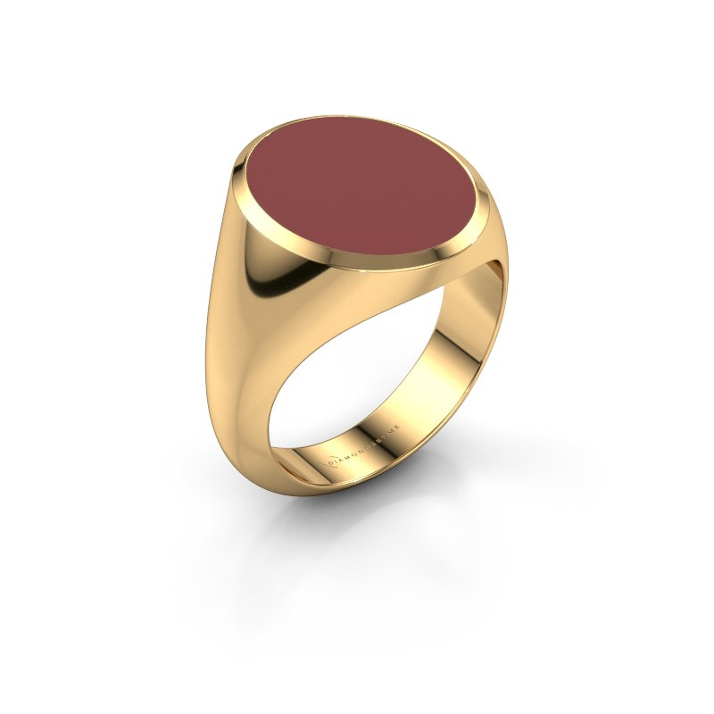 Signet ring Herman 6 585 gold red enamel 16x13 mm