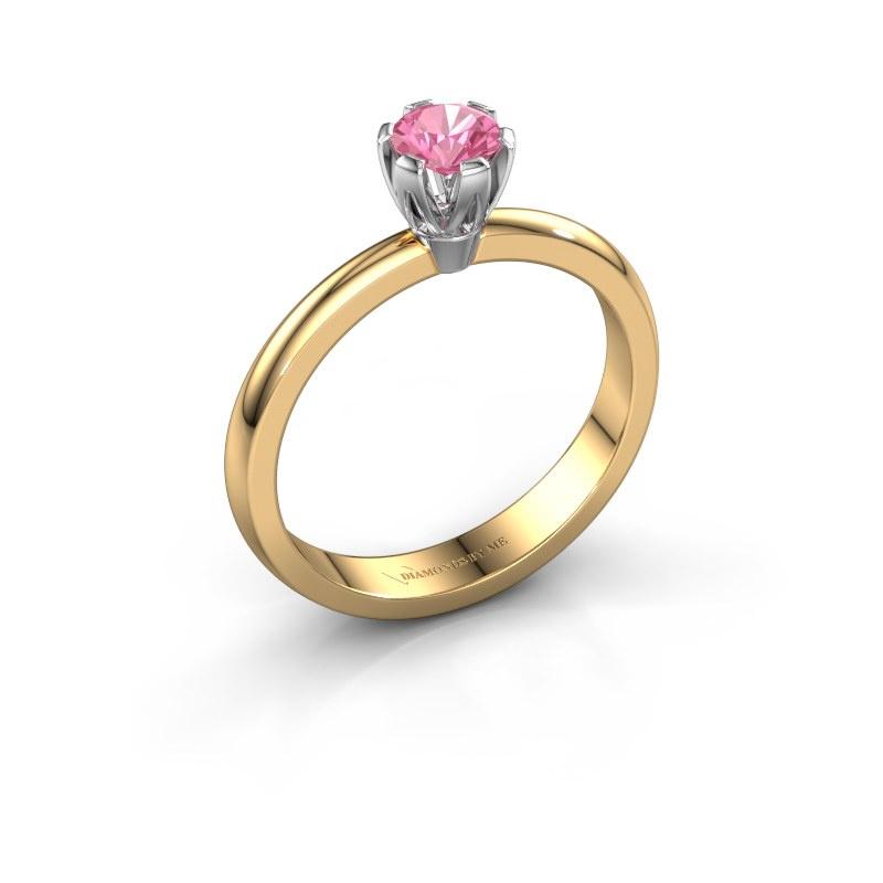 Verlovingsring Julia 585 goud roze saffier 4 mm