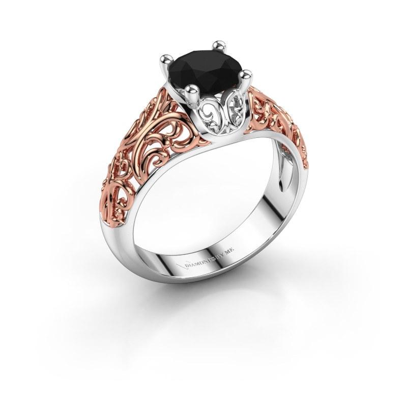 Ring Mirte 585 witgoud zwarte diamant 1.30 crt