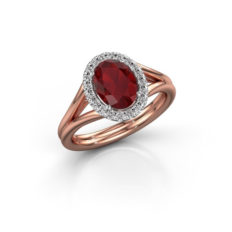 Engagement ring Rachele 1 585 rose gold ruby 8x6 mm