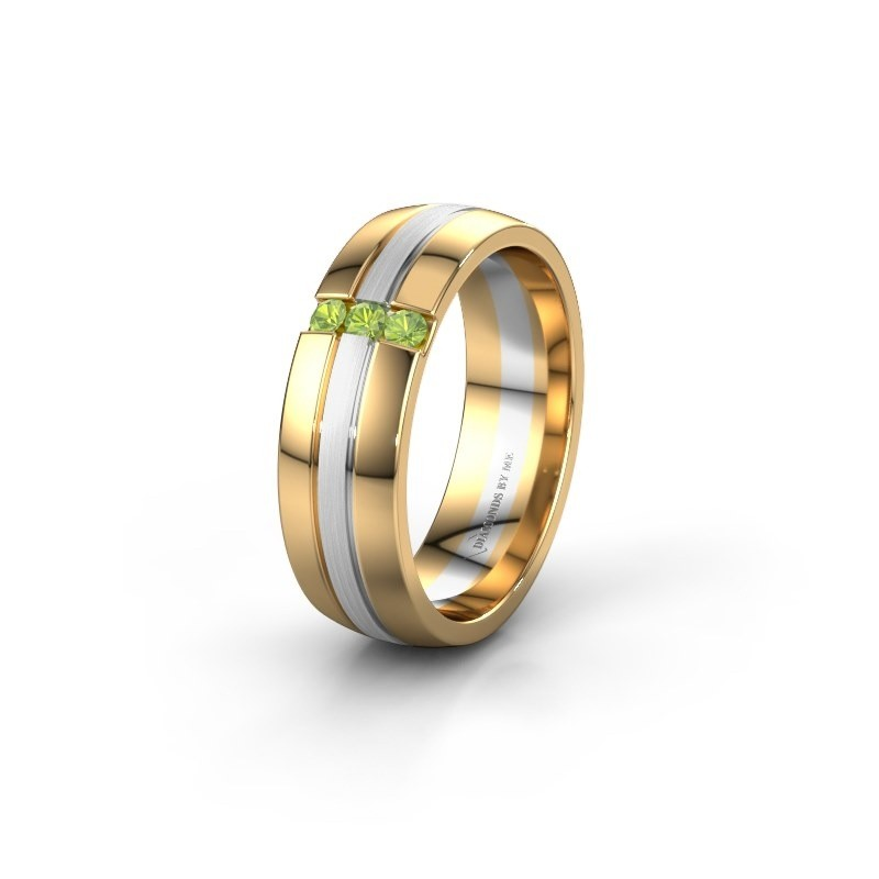Wedding ring WH0426L26A 585 gold peridot ±6x1.7 mm