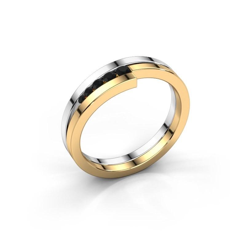 Bague Cato 585 or blanc diamant noir 0.15 crt