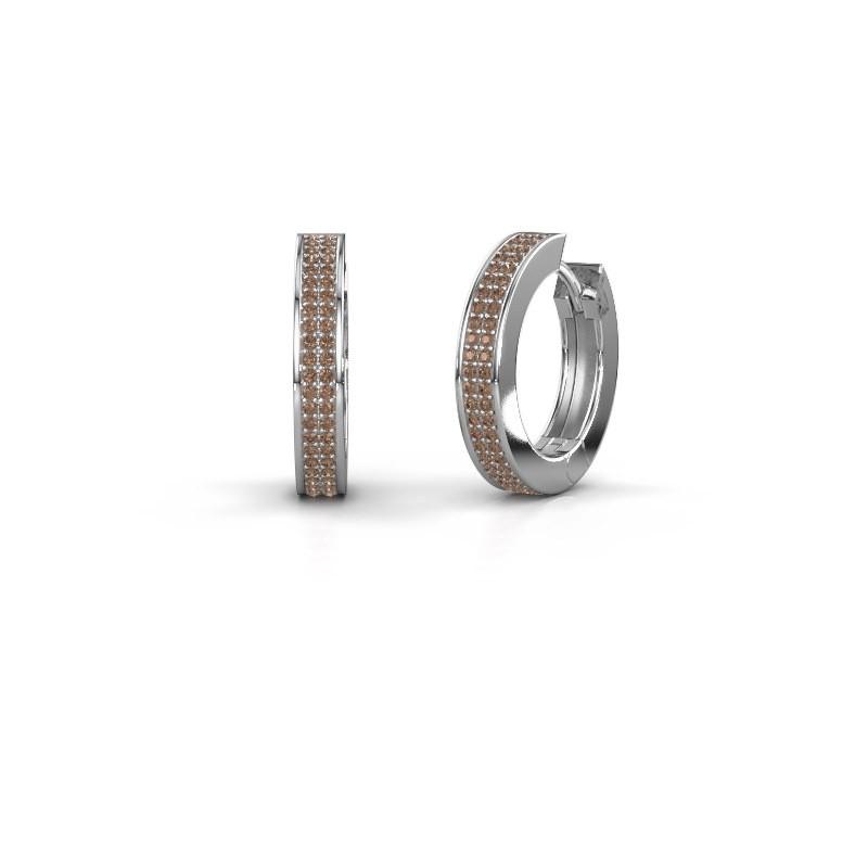 Creolen Renee 5 12 mm 950 platina bruine diamant 0.78 crt