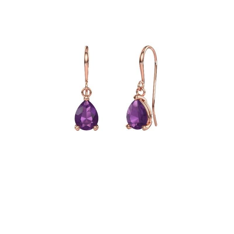 Drop earrings Laurie 1 375 rose gold amethyst 8x6 mm