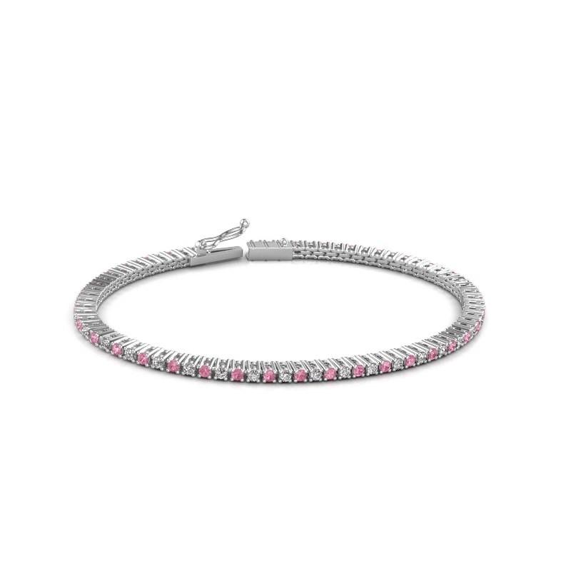 Tennis bracelet Simone 585 white gold pink sapphire 2 mm