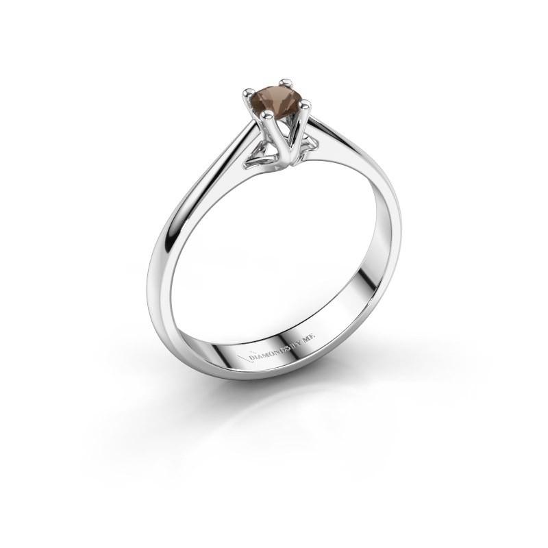 Engagement ring Janna 1 950 platinum smokey quartz 3.4 mm