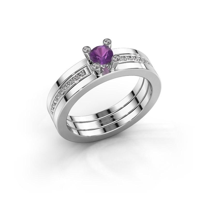 Ring Alisha 585 witgoud amethist 4 mm