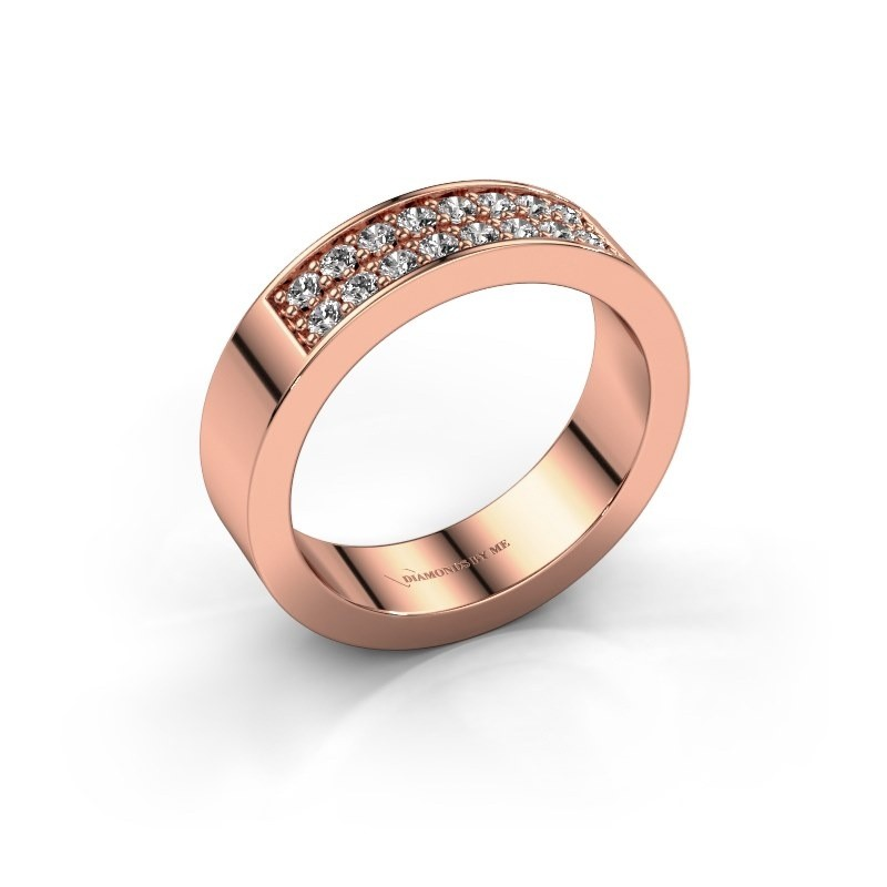 Stackable ring Catharina 5 375 rose gold lab grown diamond 0.32 crt