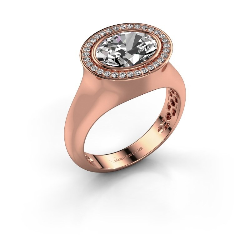 Ring Phebe 375 rose gold zirconia 10x8 mm