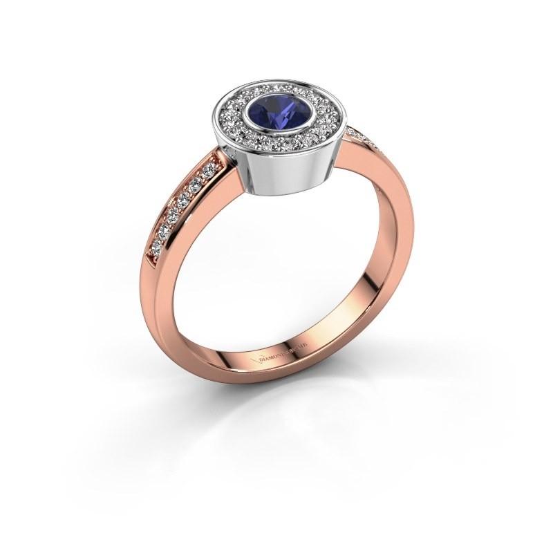 Ring Adriana 2 585 Roségold Saphir 4 mm