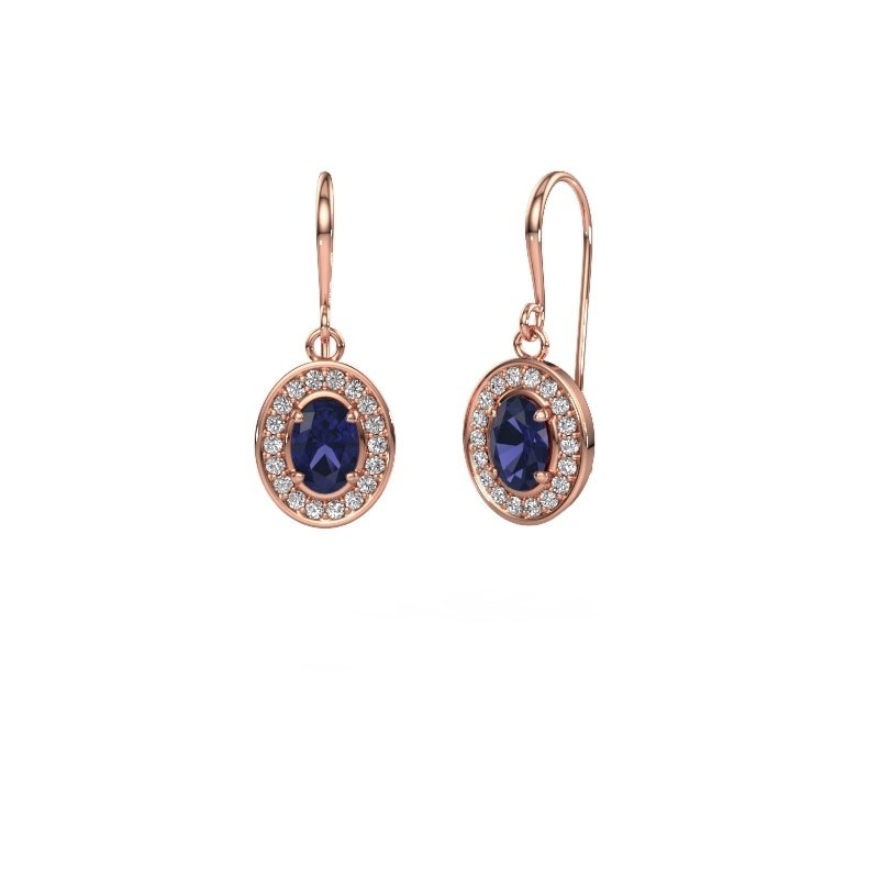 Drop earrings Layne 1 375 rose gold sapphire 6.5x4.5 mm