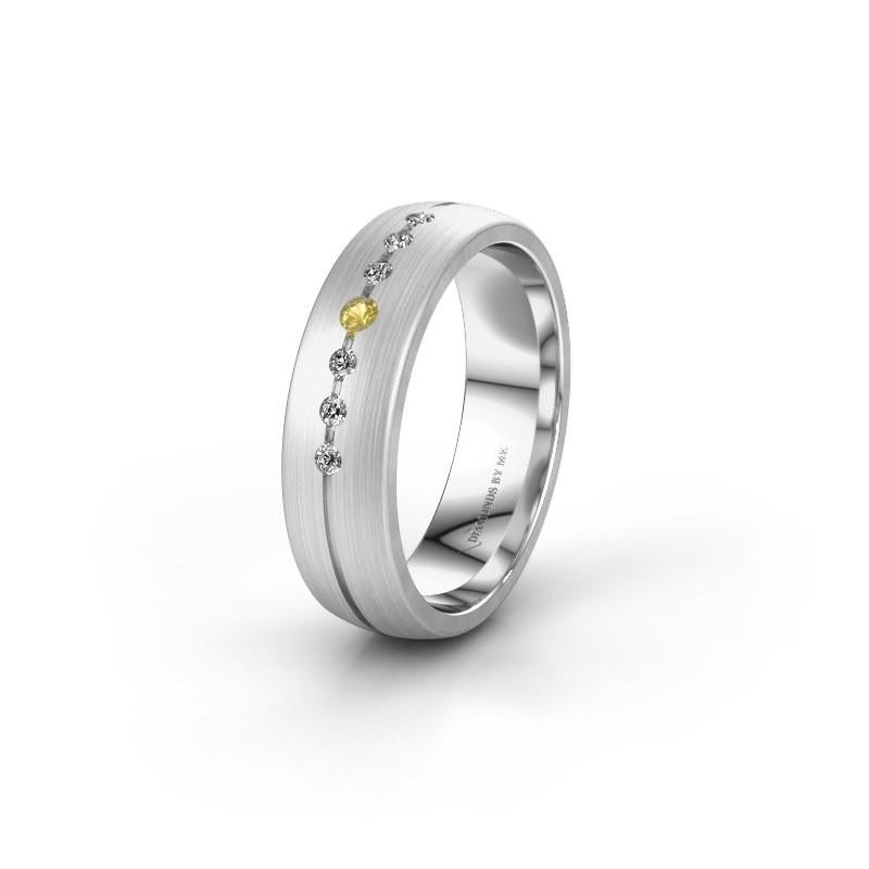 Trouwring WH0162L25A 925 zilver gele saffier ±5x1.7 mm