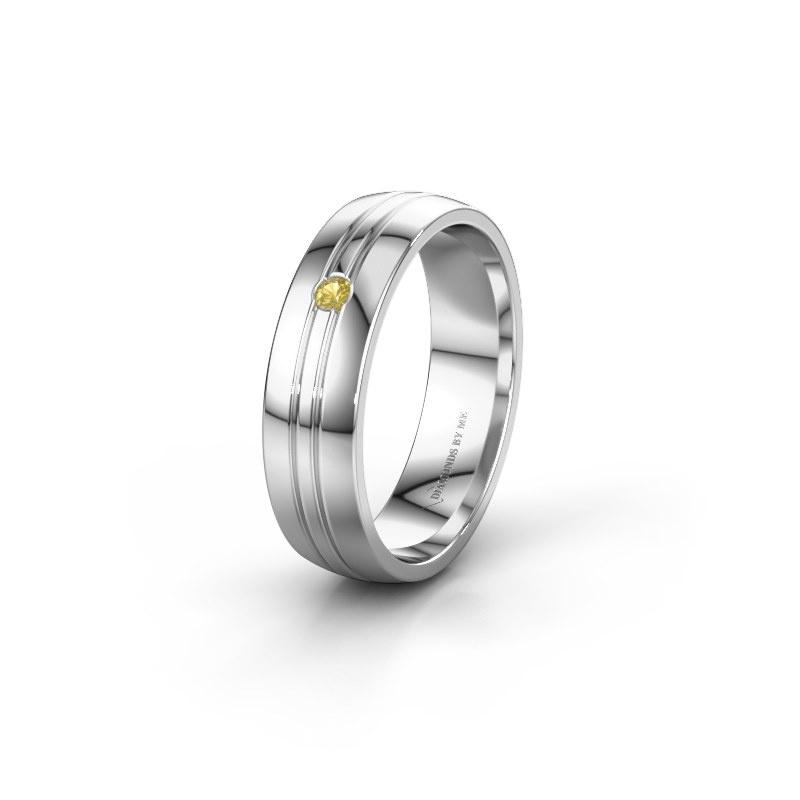 Trouwring WH0420L25X 925 zilver gele saffier ±5x1.5 mm