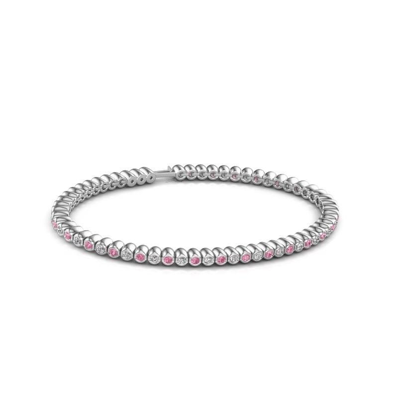 Tennisarmband Trix 585 witgoud roze saffier 2 mm